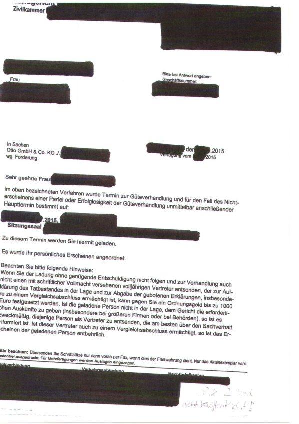 Aktueller Prozessbetrug durch OTTO gegen vernichtete Otto-Partnerin im NOV. 2015